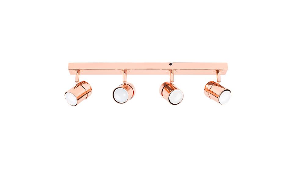 MiniSun - Plafón de techo Rosie - Moderna barra de 4 focos ...