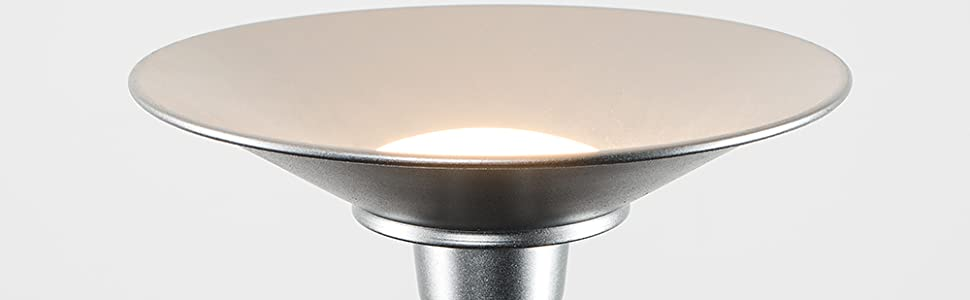 MiniSun - Moderna lámpara de pie LED Space plateada - Salida de luz superior blanca cálida, 24w 2700K