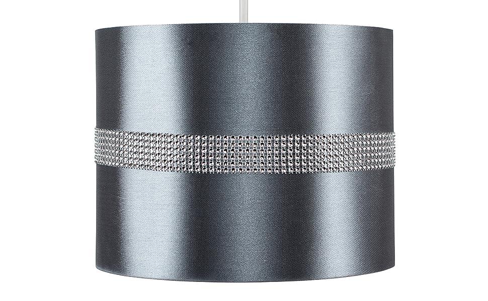 MiniSun – Moderna y decorativa pantalla cilíndrica para lámpara de techo – de polycotton, color gris y efecto diamante