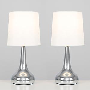 MiniSun – Set de 2 lámparas modernas de mesa táctiles, con forma de gota - cromadas y pantallas de tela color crema [Clase de eficiencia energética A]