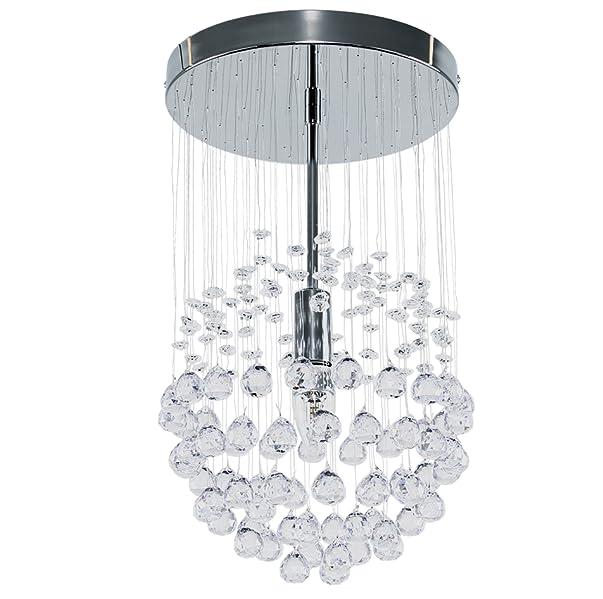 MiniSun - Elegante lámpara de techo, moderna con cascada de gotas flotantes, en cromo plateado