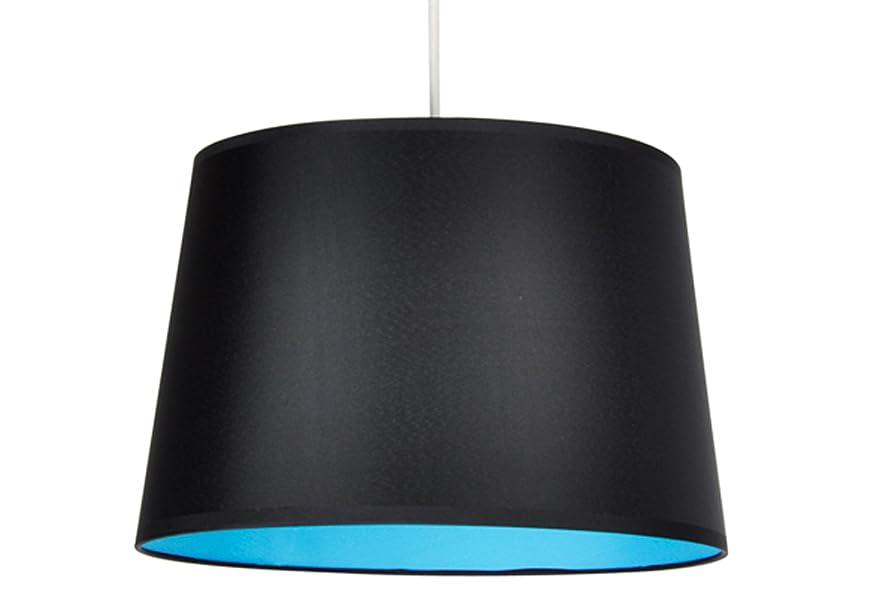 MiniSun - Moderna y elegante pantalla para lámpara de techo o de pie, circular, en negro y azul