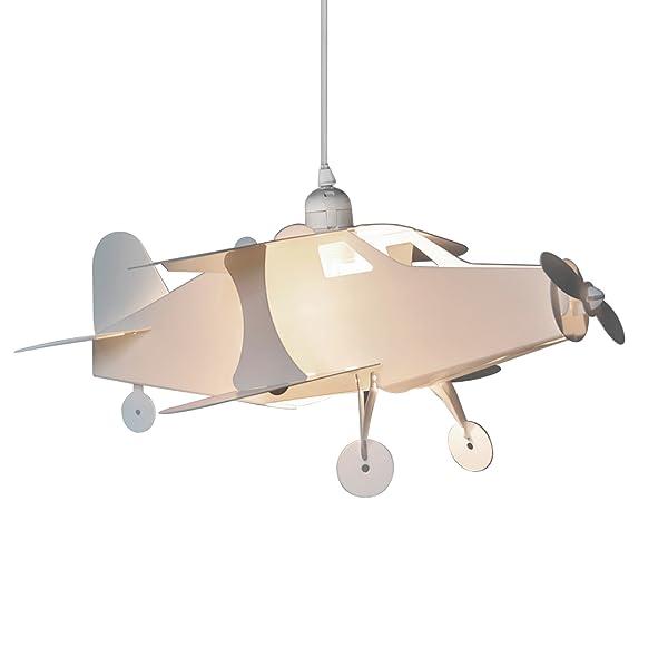 MiniSun - Divertida pantalla de lámpara de techo infantil con forma de avión y color blanco