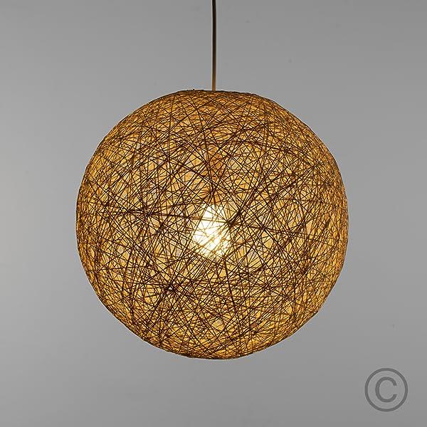 MiniSun - Moderna pantalla para lámpara de techo de estilo bola de cristal - de mimbre enrejado, tamaño pequeño y color crema