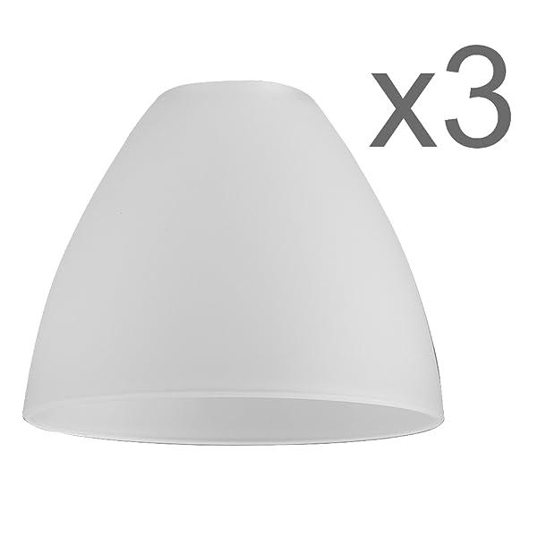 MiniSun - Set de 3 tulipas de repuesto para lámpara, de cristal satinado y forma de cuenco