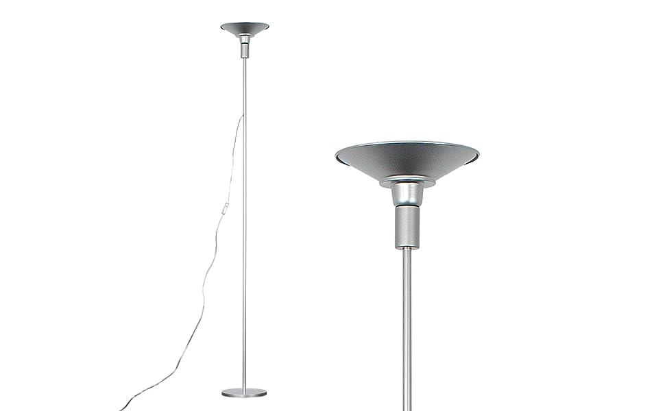MiniSun - Moderna lámpara de pie LED Space plateada - Salida de luz superior blanca cálida, 24w 2700K: Amazon.es: Iluminación