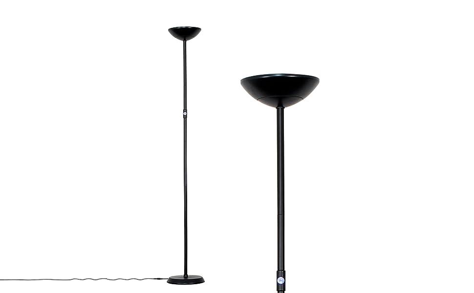 MiniSun - Lámpara LED de pie Cassey, moderna y negra - Con función de luz regulable, 24w, foco con salida superior
