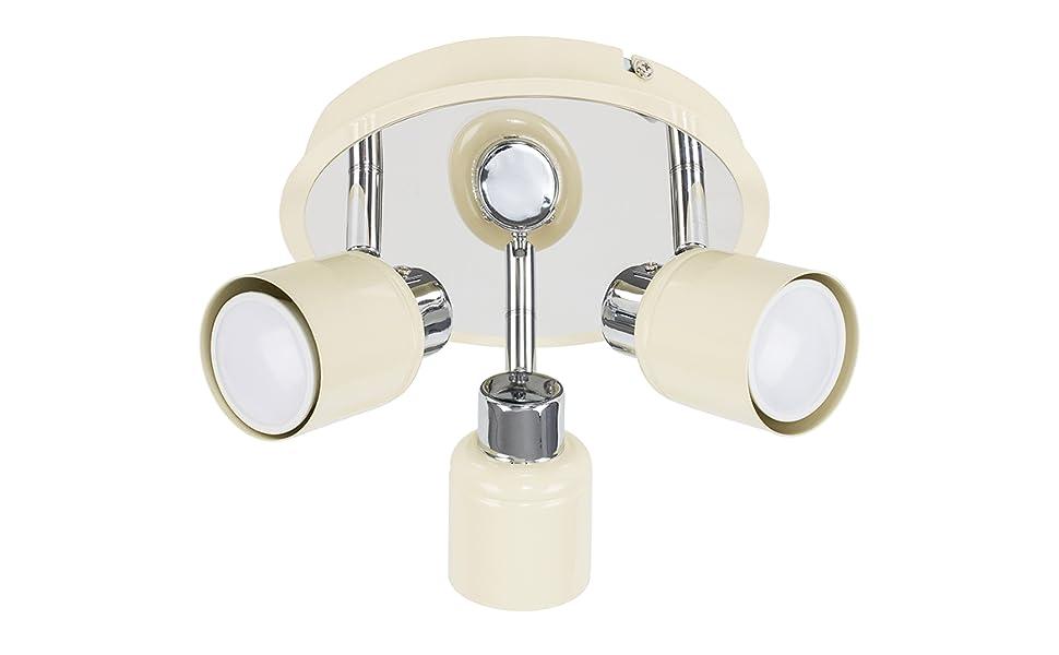 MiniSun – Moderno plafón para el techo Benton, con 3 focos móviles y base redonda – crema y plateado