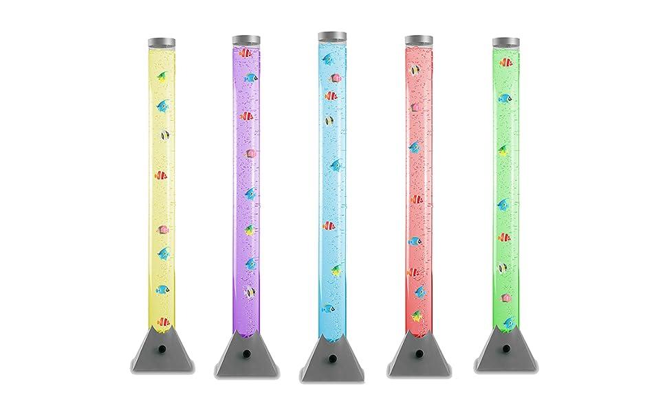 Lámpara de pie LED moderna y de diseño de 120cm - Con luces que cambian de color, corriente de burbujas y peces de colores