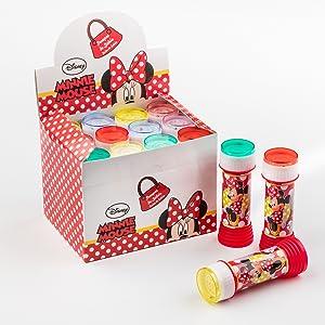 SUPERBOOM - Caja Pomperos de Burbujas de Jabón de Minnie - 12 Unidades de 60 ml: Amazon.es: Juguetes y juegos