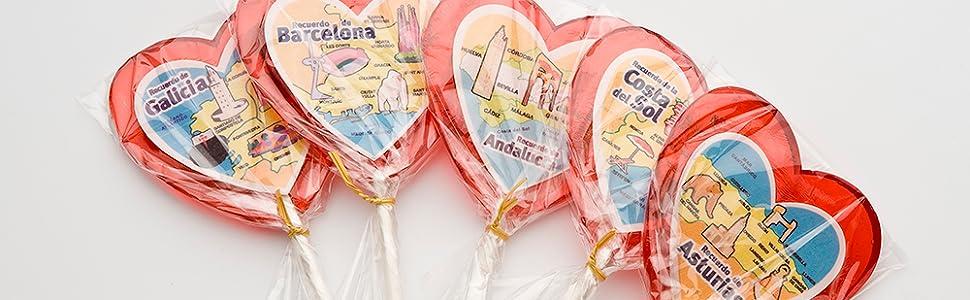 Piruleta Artesana La Asturiana - Piruletas 100% Artesanas Grandes en Forma de Corazón con Frases Románticas y Especiales - 24 unidades x 70 gramos