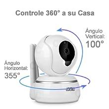 Ajuste el ángulo vertical y horizontal de la cámara deslizando la pantalla del teléfono móvil, controle su casa todo el día con 360° HD