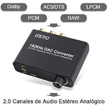 Es perfecto para cualquier fuente de reproducción con una salida de audio digital óptica (TOSLINK) o Coaxial tal como televisores digitales y HD, ...