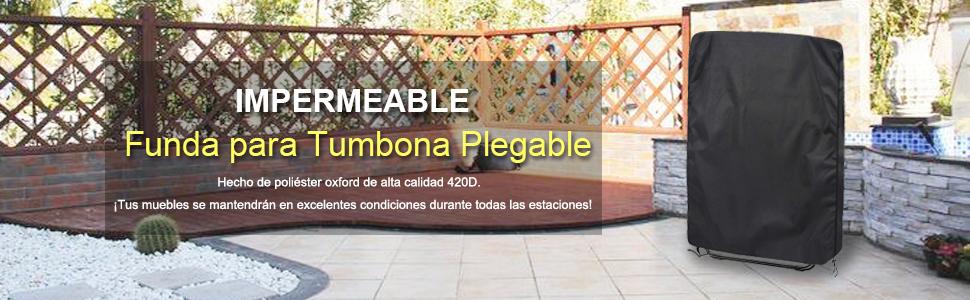 Callni Funda Protectora para Tumbona Plegable al Aire Libre Impermeable Anti-UV Cubierta para Sillas Plegable de Jardin Transpirable Tela 420D Oxford ...