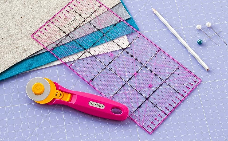 Alfombrilla de corte autorregenerable A3 en rosa, azul y verde. Perfecta para coser, manualidades y patchwork. Impresa por ambos lados 45 x 30 indicación en cm y pulgadas: Amazon.es: Hogar