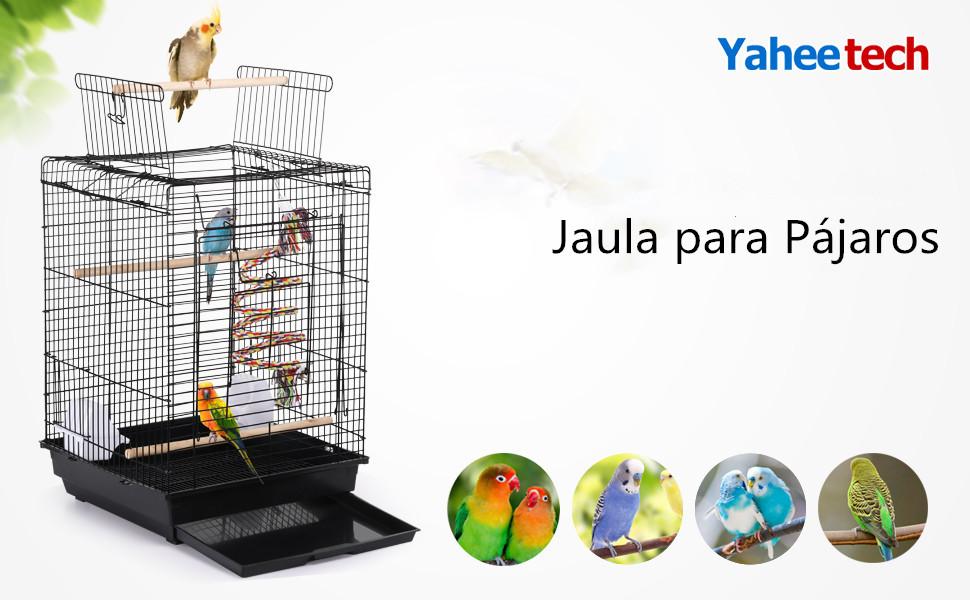 Yaheetech Jaula para Pájaros Jaula con Comedero 40 x 40 x 58 cm ...