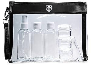 TRAVANDO ® Neceser transparente | 1l de capacidad | bolsa para llevar líquidos y cosméticos, equipaje de mano para el avión, botella set de viaje | ...