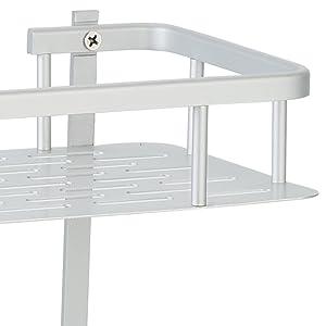Estantes de Ba/ño de Aluminio Espacial Perforado Entramado de Ba/ño Muebles de Ba/ño Hodeed 2Piezas Pegamento Sin Necesidad de Taladrar Estante Ducha Negra Estanter/ía