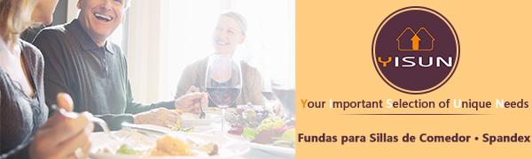 YISUN Fundas de Silla de Comedor Elásticas y Modernas, Extraíbles y Lavables, Fundas de Licra para sillas Altas 4/6 Piezas Fundas Protectoras para ...