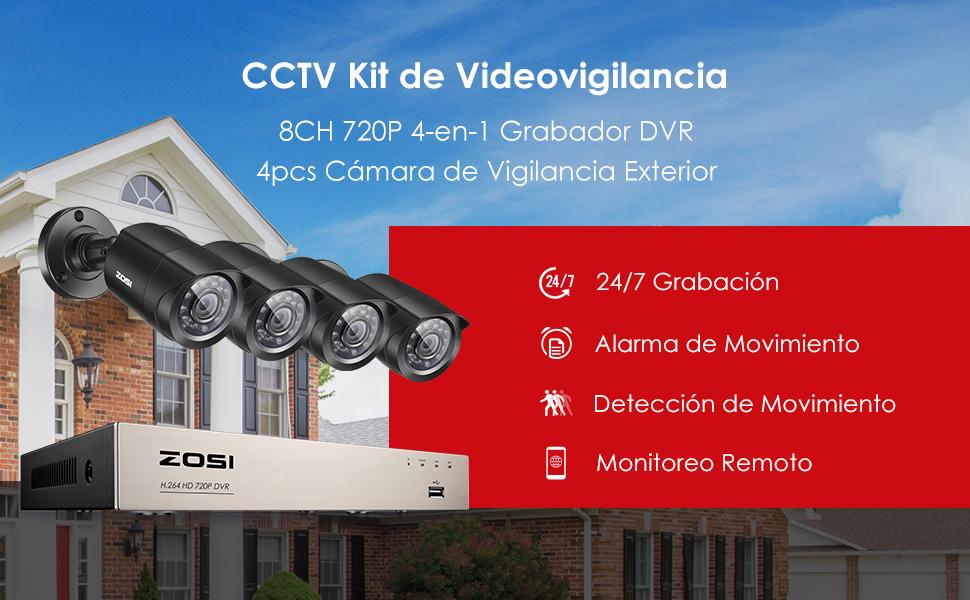 ZOSI 1080P Sistema de Cámaras de Seguridad 8CH 1080N Grabador DVR + (4) 2MP Cámara de Vigilancia Exterior, sin Disco Duro, Acceso Remoto