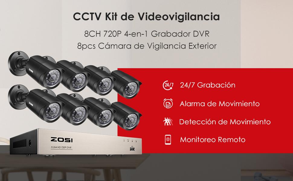ZOSI Sistema de Vigilancia Hogar 720P CCTV Kit de Cámara Seguridad 8CH HD Grabador DVR + (8) Cámara Bala Exterior, sin HDD, Visión Nocturna, Detección ...