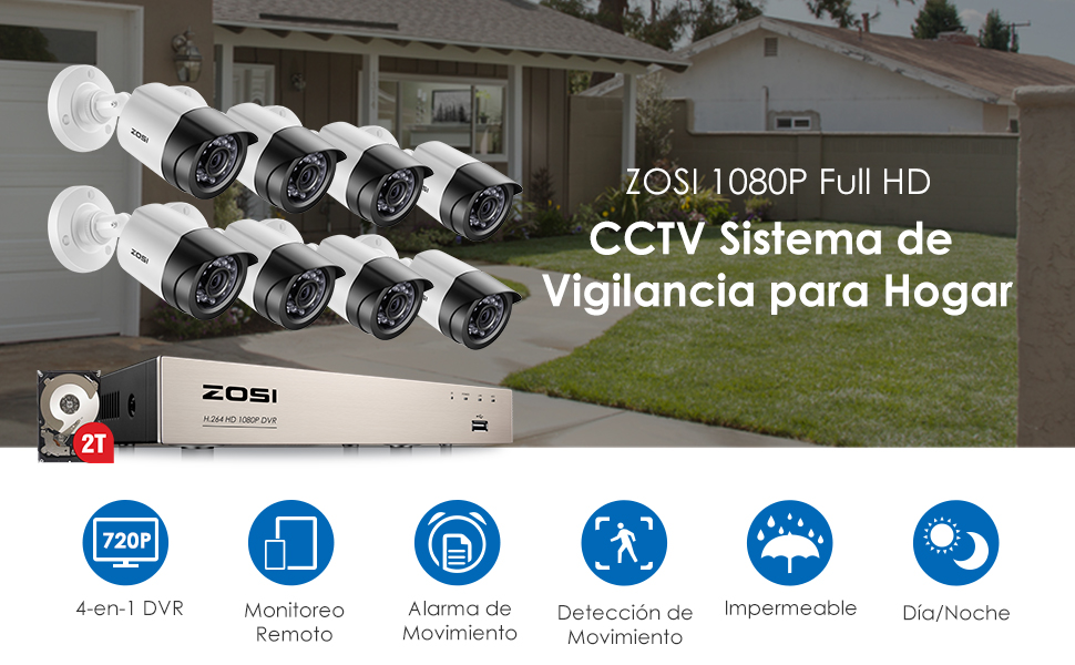 ZOSI Sistema de Seguridad 1080P CCTV Kit de Cámara Vigilancia Hogar 8CH HD 4-en-1 Grabador DVR + (8) Cámara Bala Exterior + 2TB Disco Duro, Visión ...