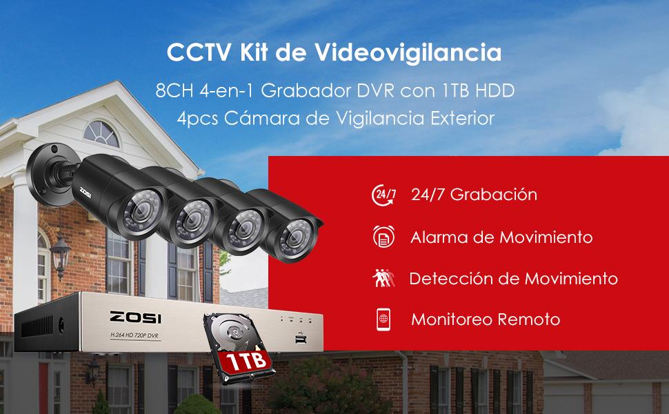 ZOSI Sistema de Seguridad 720P CCTV Kit de Cámara Vigilancia 8CH 4-en-1 Grabador DVR + (4) Cámaras Bala Exterior + 1TB Disco Duro, Visión Nocturna, ...