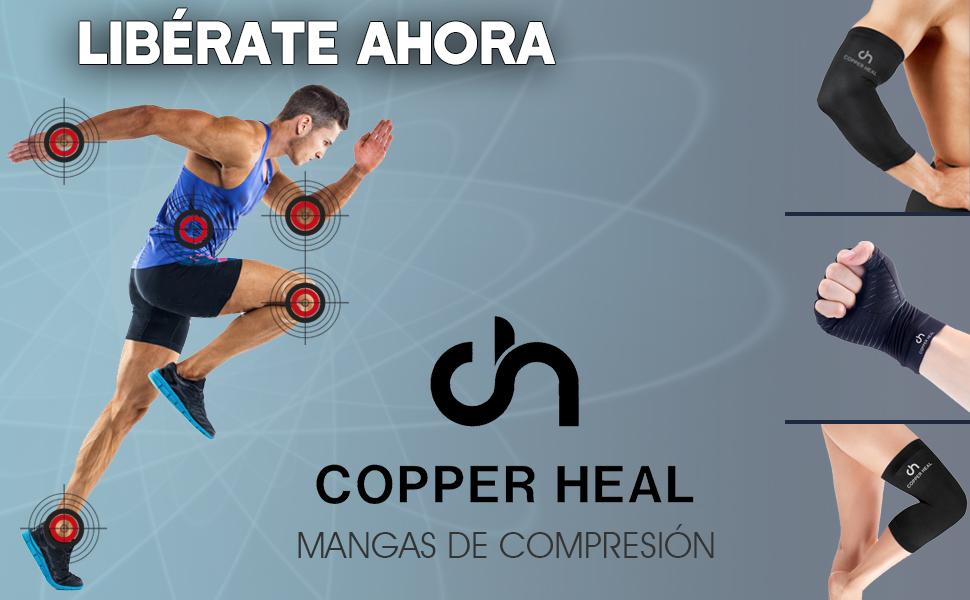 Funda de Compresión de Cobre de Codo COPPER HEAL - Manga Codo recuperación médica contenido más alta infundida Codera Soporte rígido Dolor músculos ...