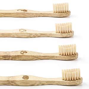 99PANDAS® | Cepillo de dientes infantil sostenibles Conjunto de 4 madera de bambú | Cabeza de cepillo extra pequeña con cerdas suaves y agradables para dientes sanos de niños: Amazon.es: Salud y