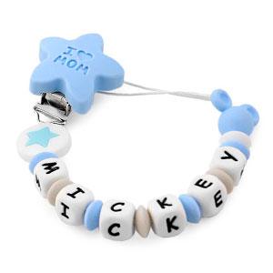 RUBY - Pack 3 piezas de silicona chupetero personalizado con nombre, collar lactancia, sonajero mordedor (Azul pastel)