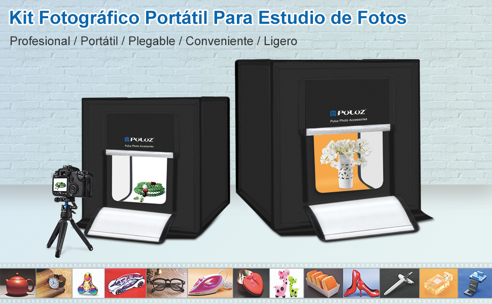 PULUZ Photography Photography Box Portable Photo Studio Shooting Tienda de campaña Plegable Sobremesa Mini Kit de Iluminación LED con Luces LED ...