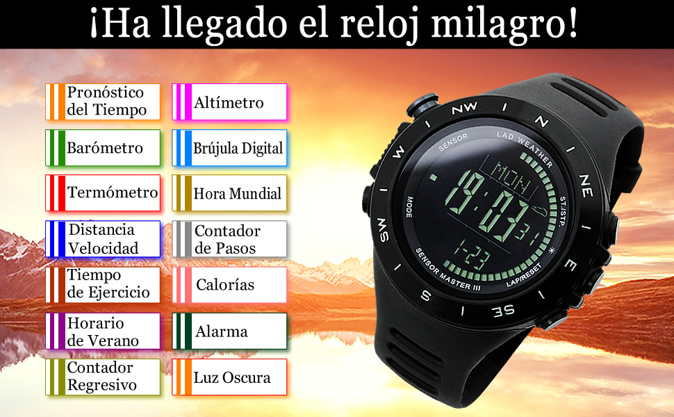 Reloj Altímetro Barómetro Brújula Calorías Pronóstico del Tiempo