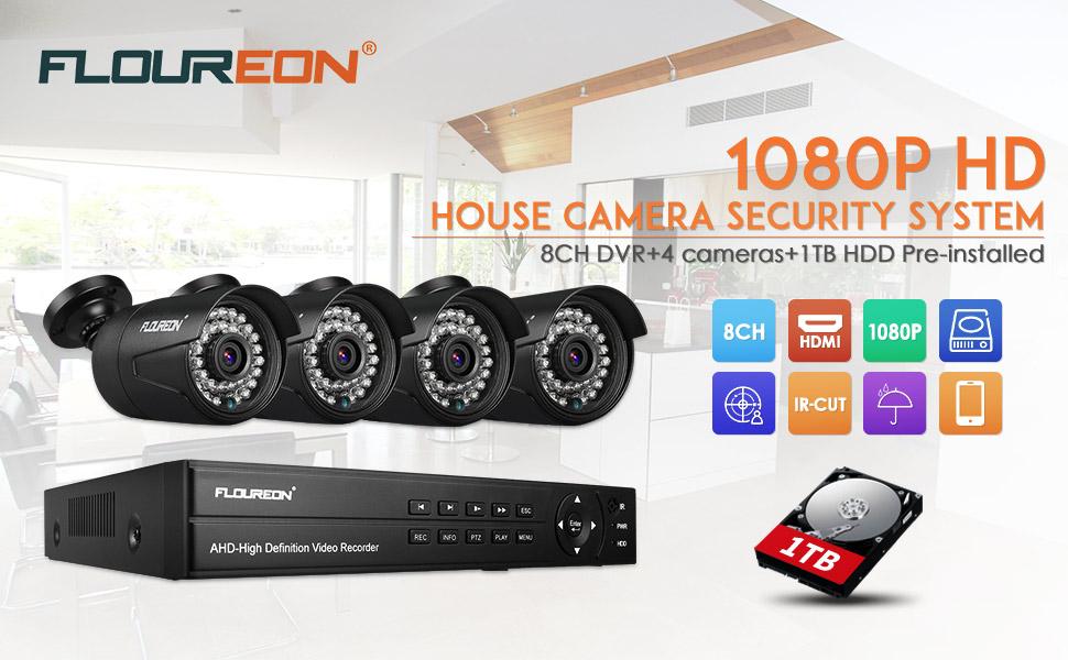 FLOUREON DVR Video Kit de vigilancia (8CH 1080N AHD DVR + 4 *1080P 3000TVL 2.0MP cámara exterior+disco duro de 1TB HDD), copia de seguridad USB, ...