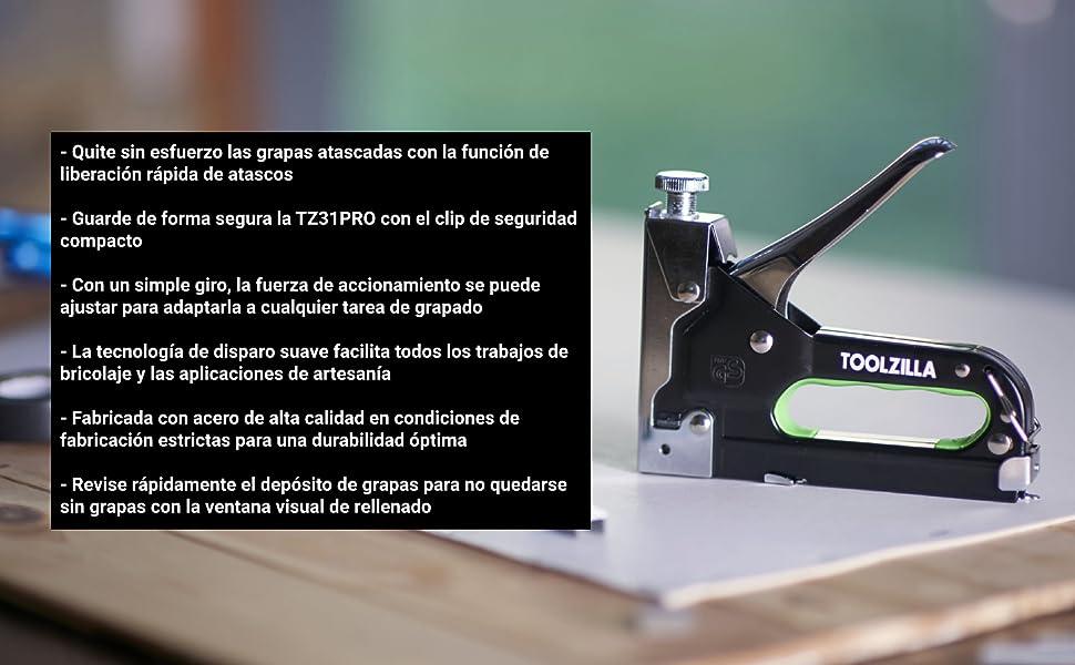TOOLZILLA Grapadora manual y paquete de selección de 600 grapas ...