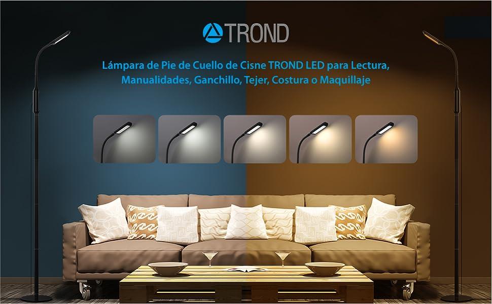 Lámpara de Pie de Cuello de Cisne TROND LED para Lectura, Manualidades, Ganchillo, Tejer, Costura o Maquillaje (5 Temperaturas de Color, 5-Niveles ...