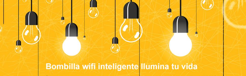 Bombilla Wifi Inteligente, Alexa LED Multicolor Lampara E27 7W RGBW
