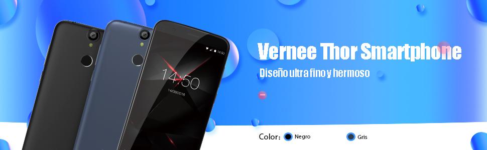 Vernee Thor 4G Smartphone Libre, 5.0 Pulgadas Android 7.0 MTK6753 Octa-Core 3GB RAM 16GB ROM Teléfono Móvil con Cámaras de 5MP + 13MP,Doble SIM,Huella Dactilar(Negro): Amazon.es: Electrónica