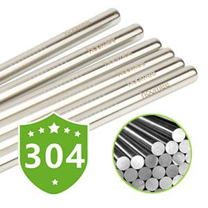 HOOMEE Pajitas de Beber Reutilizables de Acero Inoxidable, Ancho Extra de 9 mm para Batidos. Set con 6 Pajitas Rectas + 2 Cepillos de Limpieza. Sin ...