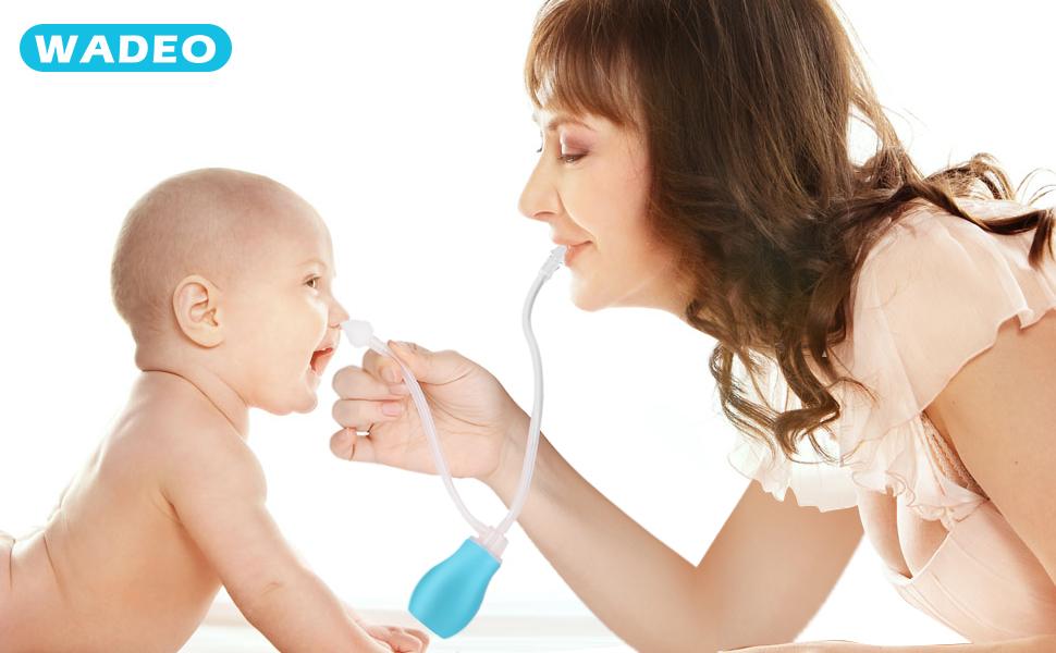 WADEO Aspirador Nasal para beb/é Limpiador Nasal Limpiador de moco para el alivio de la congesti/ón nasal Reutilizable para Bebes Ninos Rosa