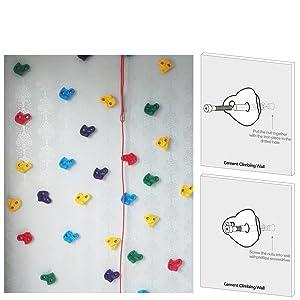 WADEO 20 Piezas Presas Escalada de Pared Niños Escalar Kit para Juego de Patio Interior/al Aire Libre para Niños