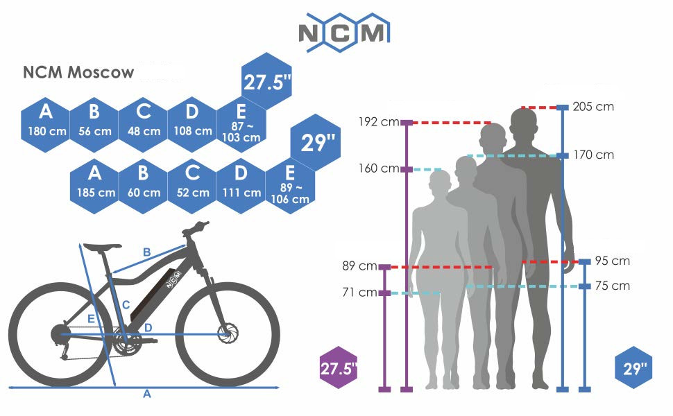 NCM Moscow Bicicleta eléctrica de montaña, 250W, Batería 48V 13Ah ...