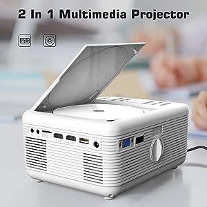 ExquizOn 2 en 1 Proyector LCD con Reproductor DVD, KJM-301 LED ...