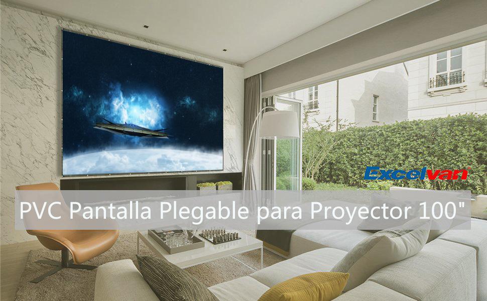 Excelvan - PVC Pantalla Plegable para Proyector 100