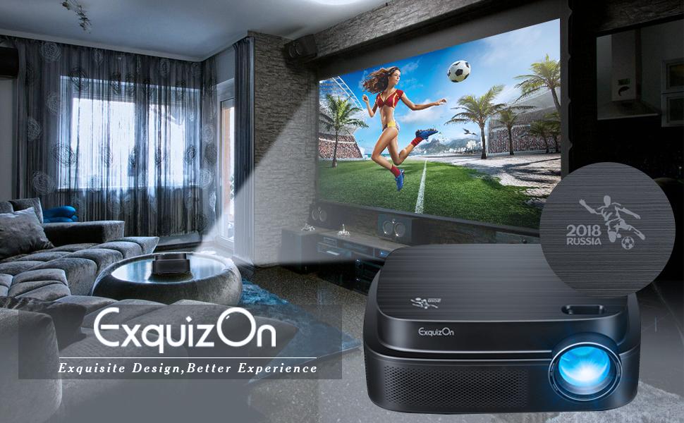 ExquizOn Videoproyector, Q7 LED Proyector Full HD 1080P, Proyector de Vídeo para Copa del Mundo World Cup Memorial, 3300 Lúmenes, Interfaz HDMI/USB/AV para Juegos Películas Cine en Casa, Negro: Amazon.es: Electrónica