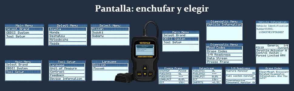Leer más. ☆ Descripción del producto: 1.VETOMILE VT127 es un práctico lector de códigos para automóviles multimarcas. 2. Es compatible con Multi-Idioma.