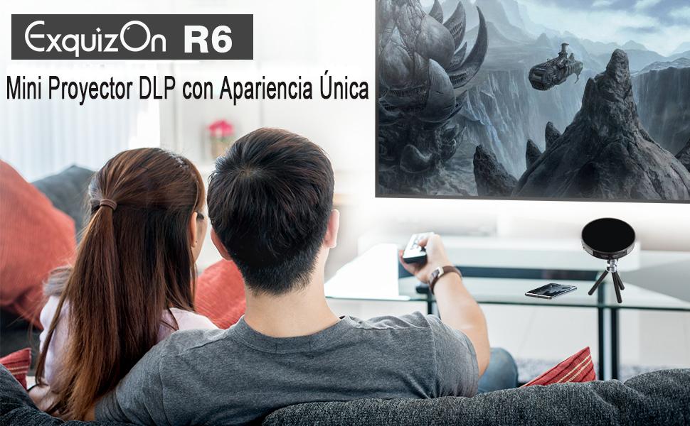 ExquizOn Proyector DLP Portátil R6 Mini Proyector 854 * 480 ...