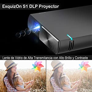 Proyector DLP Portátil ExquizOn S1 Video 1080P Full HD soporta ...