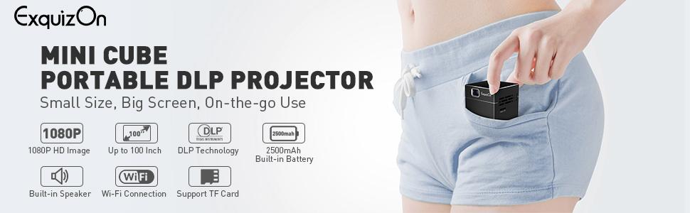 ExquizOn Proyector de Bolsillo Proyector DLP S6 WiFi Video 1080P ...