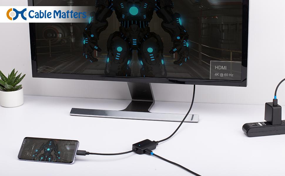 Cable Matters Adaptador USB C a HDMI(Adaptador HDMI a USB C) Compatible con Carga de 4K 60Hz y 60W en Negro, Puerto Thunderbolt 3 Compatibl: Amazon.es: Electrónica