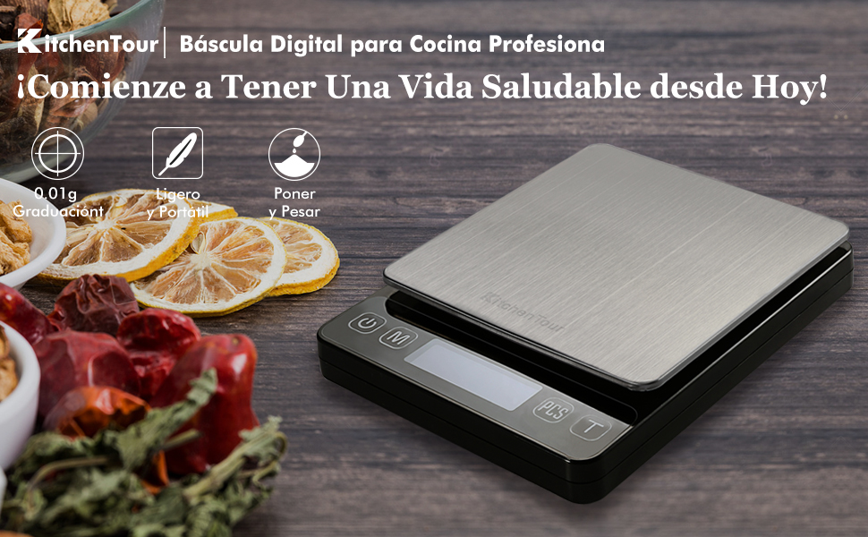 Kitchentour Báscula Digital para Cocina de 500g/0.01g, Balanza Multifuncional de Alta Presición de Alimentos, Joyería y Más con Plantalla LCD ...
